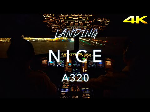 Night Landing Nice | Cockpit View 4K