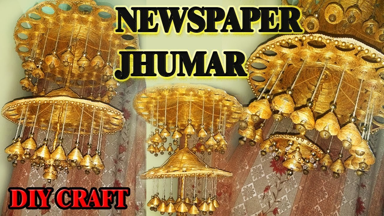 how to make chandelier/diy newspaper jhumar - YouTube for Paper Chandelier Craft  111ane