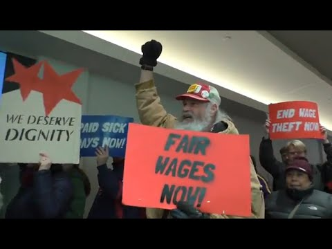 USA: $15 An Hour Protesters March Though Macy's On Black Friday