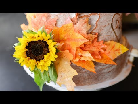 Wafer Paper Fall Leaves Tutorial for Cake Decorating