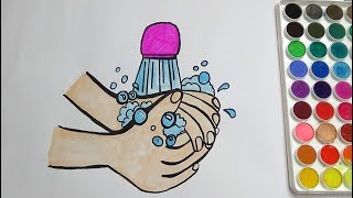 HAND WASH COLORING PAGE FOR KIDS