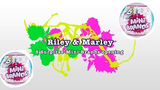 5 Surprise Mini Brand opening x2!!! / Riley and Marley's first video!