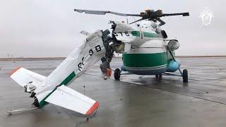 Опубликовано видео жесткой посадки вертолета в аэропорту Волгограда