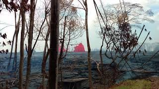 Leilani Estates Hawaii Lava Flow Fountains Kahukai Crack is Gone 5/22/2018 Part 8