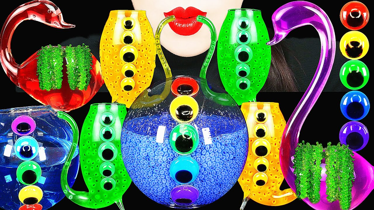 ASMR RAINBOW DRINKS DRINKING SOUNDS 신기한 물먹방 GOOGLY EYES, SEA GRAPES, EDIBLE FROG EGGS  EATING SOUNDS