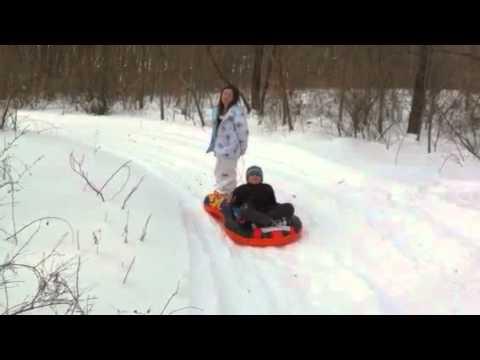 Mimi Adam michigan woods sled
