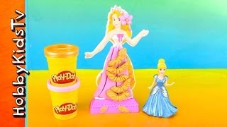 Play-doh Disney Princess Rapunzel Design A Dress, Cinderella Helps [toy Review] [box Open]