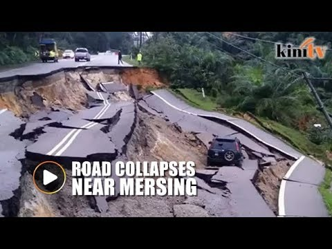 Vehicle plunges 15m down after road collapse near Mersing