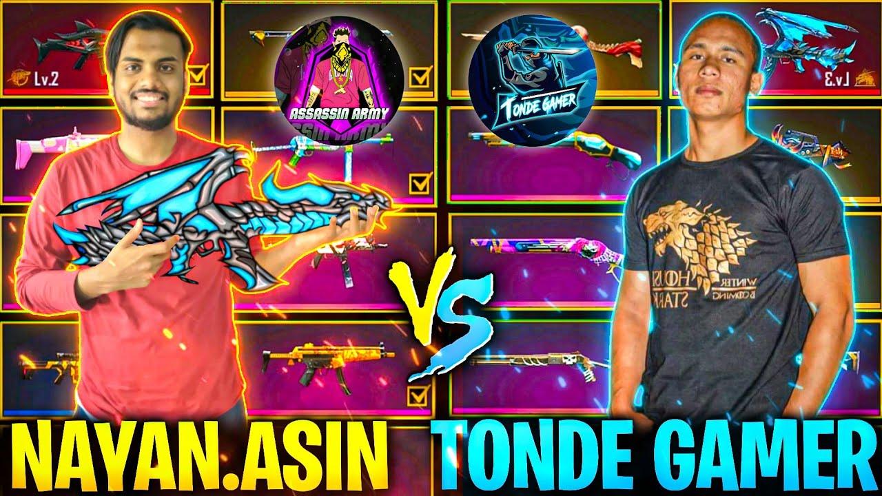 Rare Gun Skin Battle NayanAsin Vs TondeGamer Global Top 1 Collection 😱  6-6 All 😡 - Garena Free Fire