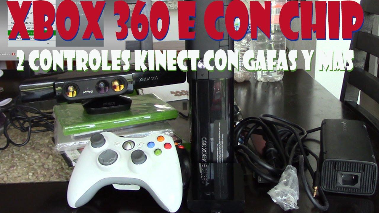 Xbox 360 E Con Chip 2 Controles Kinect Con Gafas Cables Y 5 Juegos