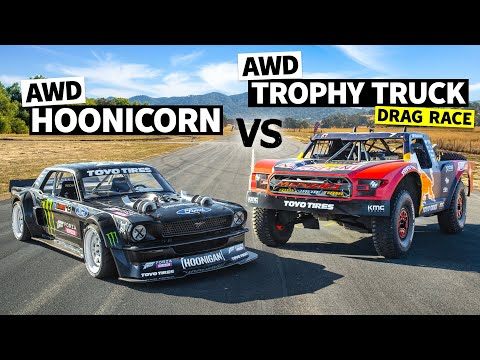 AWD Trophy Truck Pulls a Wheelie Vs Ken Block's 1,400hp AWD Ford Mustang // Hoonicorn Vs the World