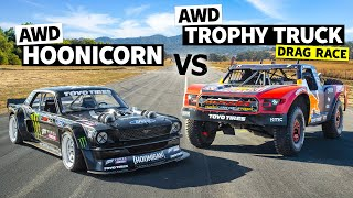 Download lagu AWD Trophy Truck Pulls a Wheelie Vs Ken Block's 1,400hp AWD Ford Mustang // Hoonicorn Vs the World