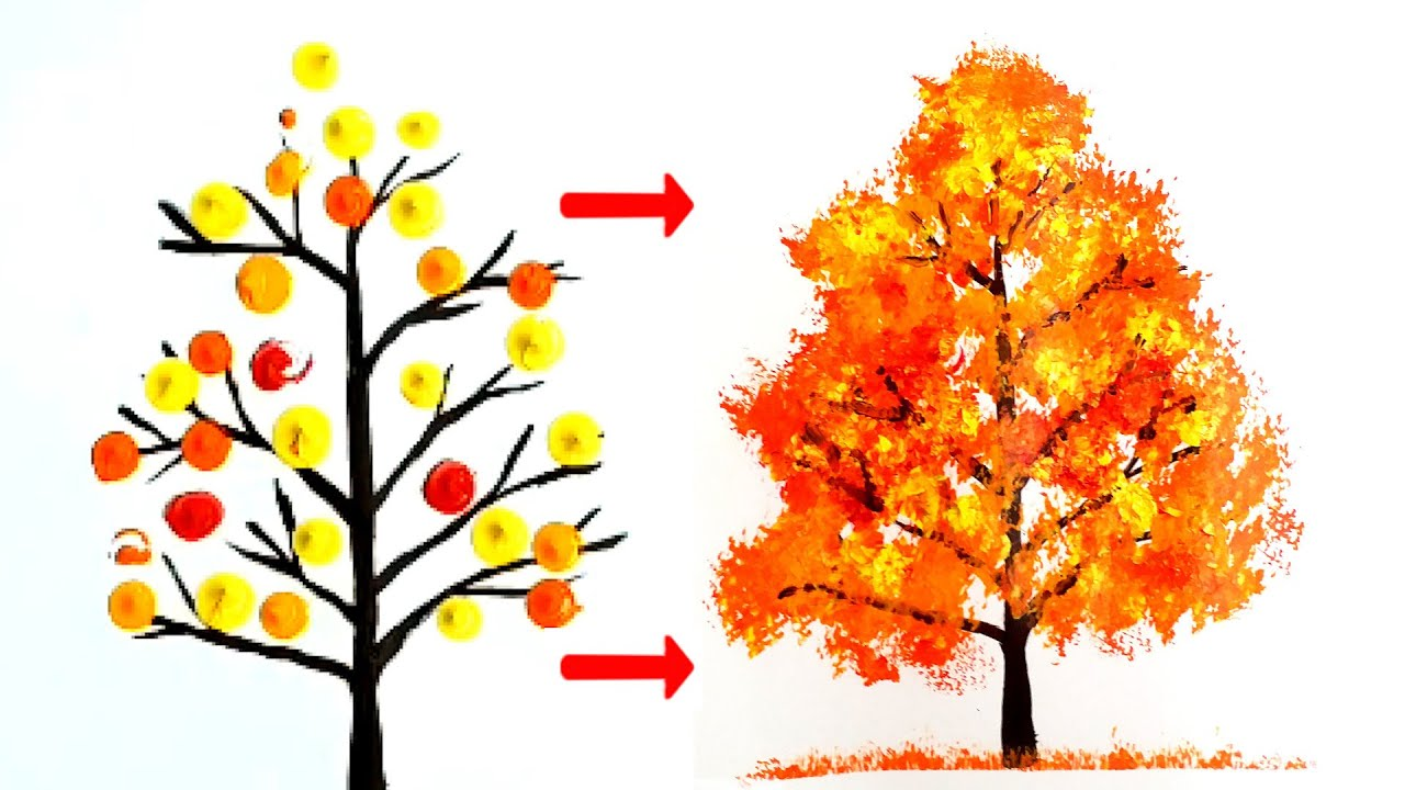 How To Paint Tree Acrylic Easy For Beginners Colorful Autumn Tree Youtube