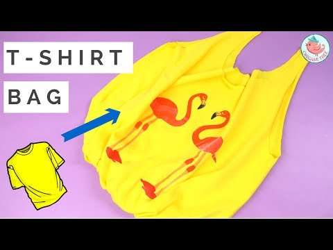 How to Make a DIY T-shirt Bag (NO SEW, NO GLUE) - Upcycling & Recycling Crafts
