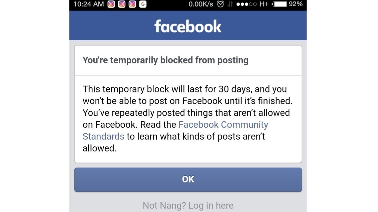 Facebook blocked 30 days