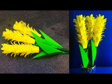 DIY, Making Yellow Hyacinth Flowers With Paper | کاردستی، ساخت گل های سنبل با کاغذ