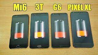 Xiaomi Mi6 vs OnePlus 3T vs LG G6 vs Pixel XL - Battery Drain Test! (4K)