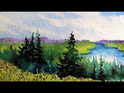 Woods, Meadow and Lake Beginner Landscape Tutorial!