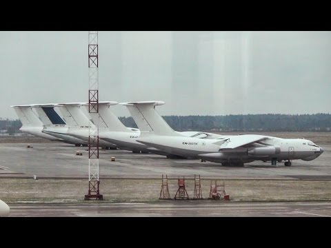 Minsk Airport, Belarus. Airside Spotting. Ilyushin il-76td, Deicing A319 (Etihad), and More
