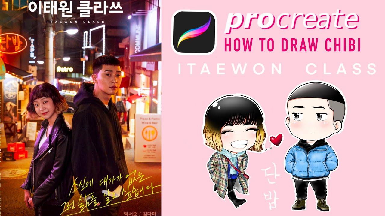 PROCREATE TUTORIAL: Drawing from Reference – ITAEWON CLASS Jo Yi Seo 💖 Park Sae Ro Yi [CHIBI Style]