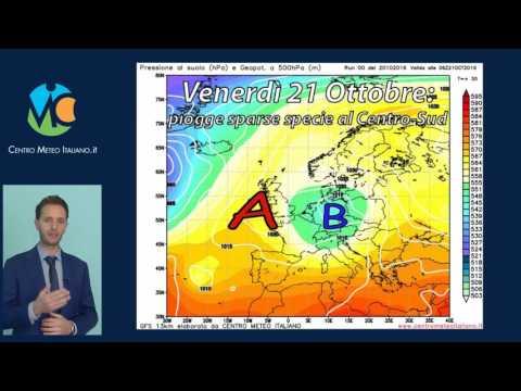 Previsioni meteo Italia, weekend 21-23 Ottobre 2016