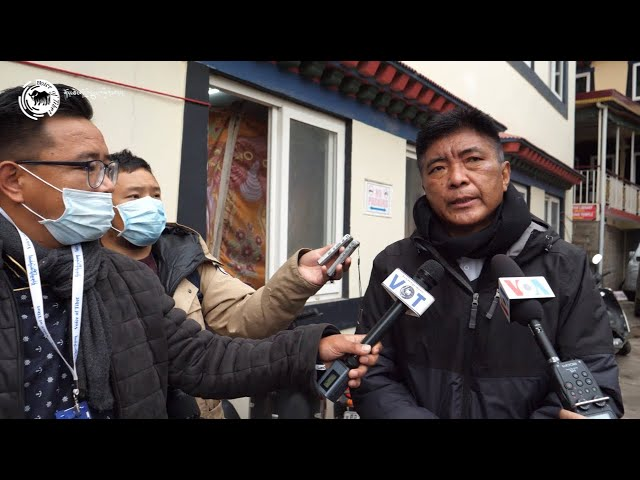 Tibetan Election Commissioner Wangdue Tsering Pesur speaks to the Press