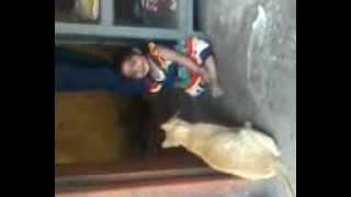 My cute baby stuti with her cute cat