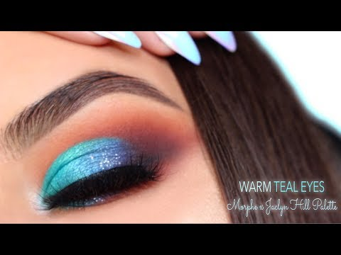 Bright Teal & Warm Eye Makeup Tutorial