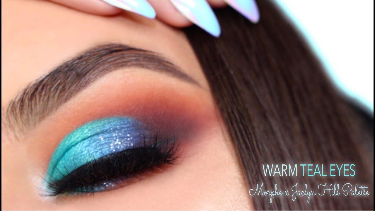 Bright Teal Warm Eye Makeup Morphe X Jaclyn Hill Palette