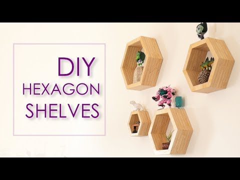 DIY Modern Hexagon Plywood Shelves | Crafter Maker :P