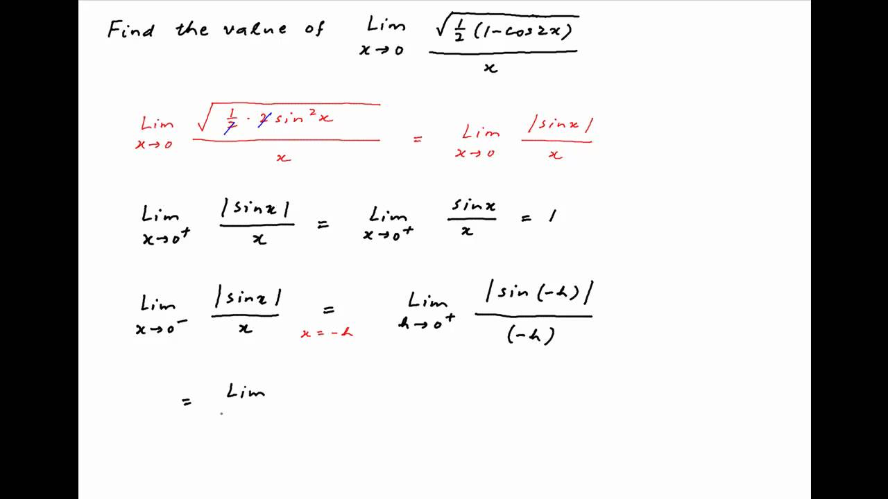 Iit 1991 Find The Limit Of Sqrt 1 Cos2x 2 X As X