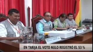 EN TARIJA EL VOTO NULO REGISTRÓ EL 53%
