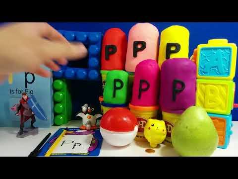 The Letter P with ABC Surprise Eggs - Pikachu Pi  | DC Kids action movies | HC Spiderman 3D Cartoon