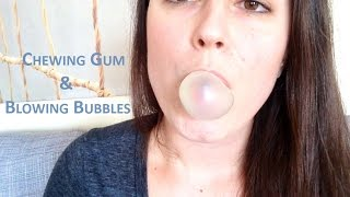 natural asmr gum chewing blowing popping bubbles mouth sounds tapping scratching no whisper