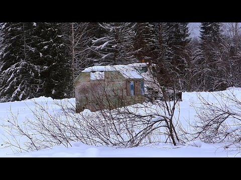 ЖЕСТЬ! Таежная изба (лесное жилище) упала с саней. Заброска в лес. День первый.