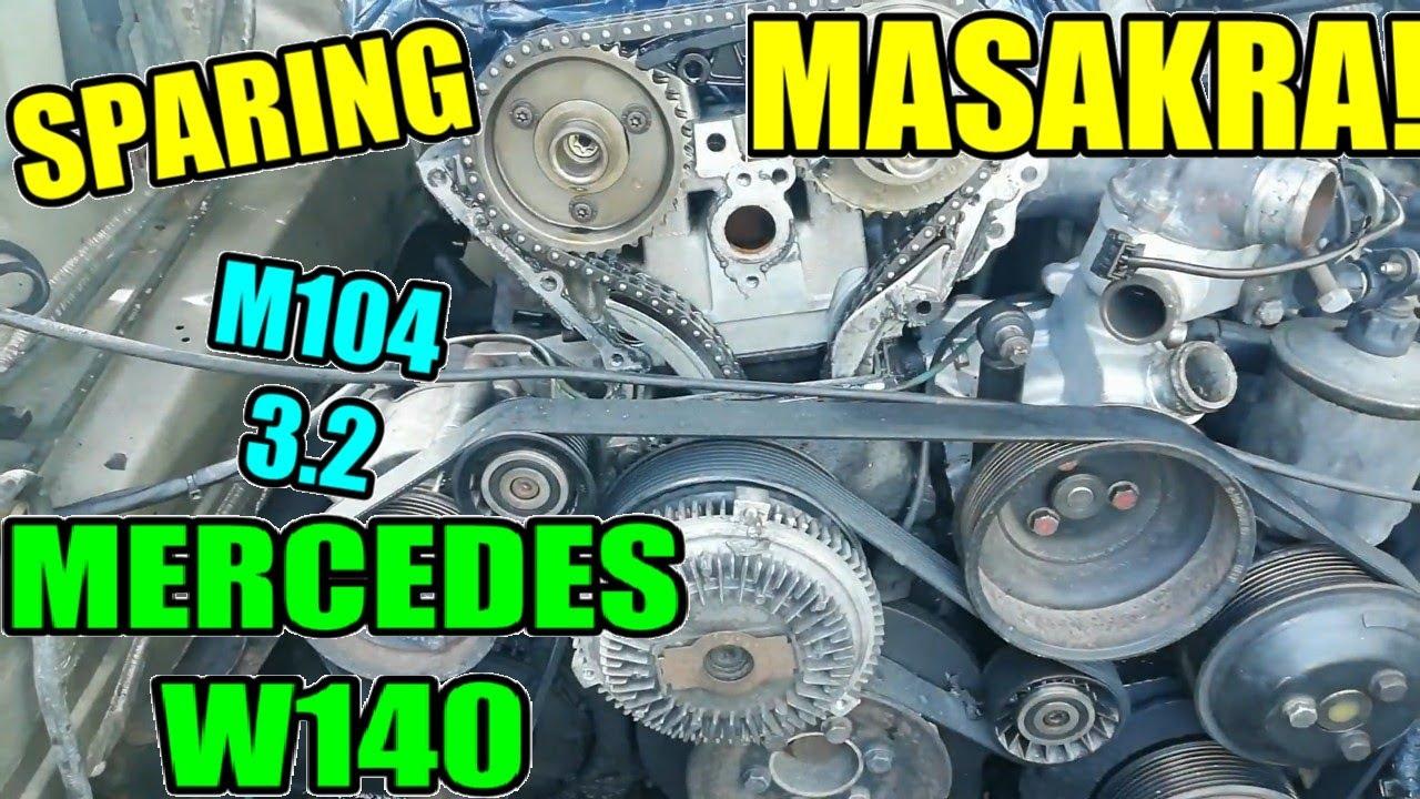 MercedesW140 Demntaż Silnika M104 3.2 Sprężarka powietrza,Osłona Rozrządu,Alternator, oraz DYKTA!