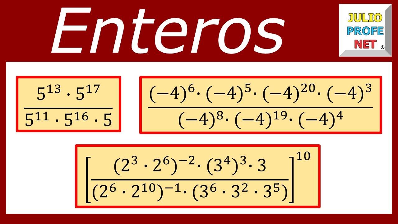 POTENCIACIÓN DE NÚMEROS ENTEROS - Ejercicios 1, 2 y 3 - YouTube