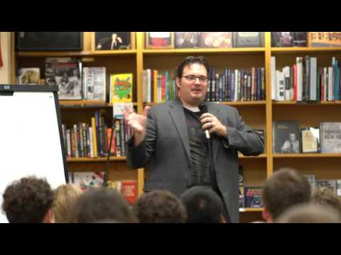 Brandon Sanderson taking questions on 10/13/2015 at Schuler Books & Music in Lansing