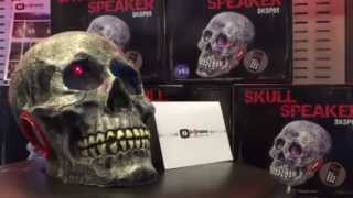 Halloween Skull Speaker w/Remote & Glowing LED Eyes