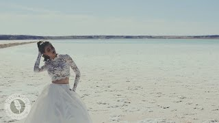Romantic editorial magazine gown shoot on salt flats