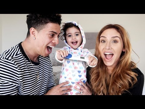MOMMY AND DAUGHTER SURPRISE DADDY WITH PREGNANCY ANNOUNCEMENT!!! (SPEECHLESS) thumbnail