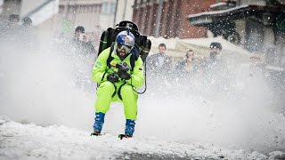 Jetpack Skiing! Filip Flisar Charges Through Town at 120kph