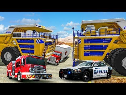 Бешеный БЕЛАЗ 75710 против БТР 80 грузовика и полиции| Игровой детский мультик про машинки - Видео онлайн