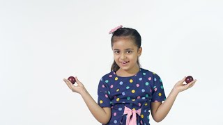 Plum eyes - Beautiful Indian girl having a good time with plums against the white background
