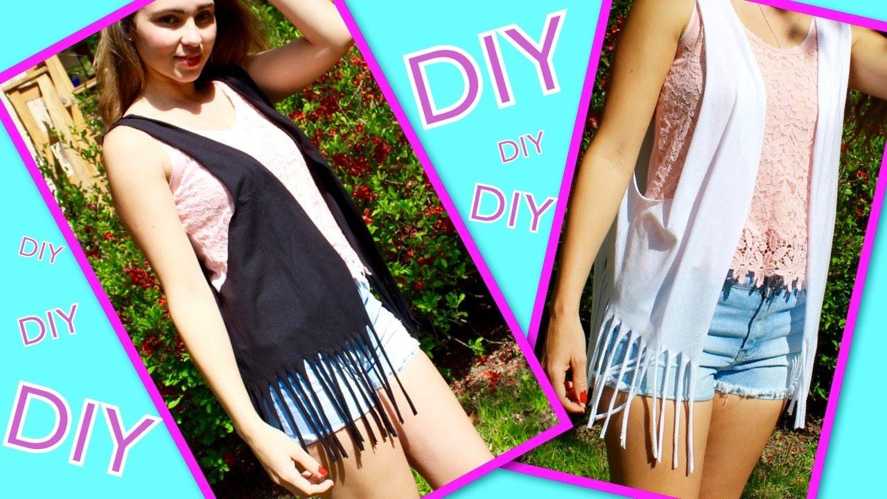 DIY Clothes ♥ Fringe Vest From T-Shirt ♥ For Summer!