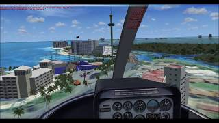 quick helicopter take off and landing in cancun mexico on flight simulator X