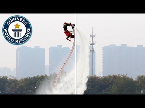 Most backflips with a water jet pack in one minute - Guinness World Records