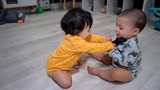 TWINS GET INTO THEIR FIRST FIGHT!!! *CUTEST FOOTAGE*