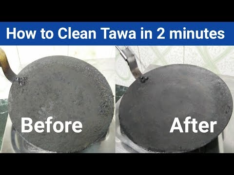 How to Clean Tawa in  2 minute ll Clean Burnt Tawa with Lemon by Punjabi Cooking