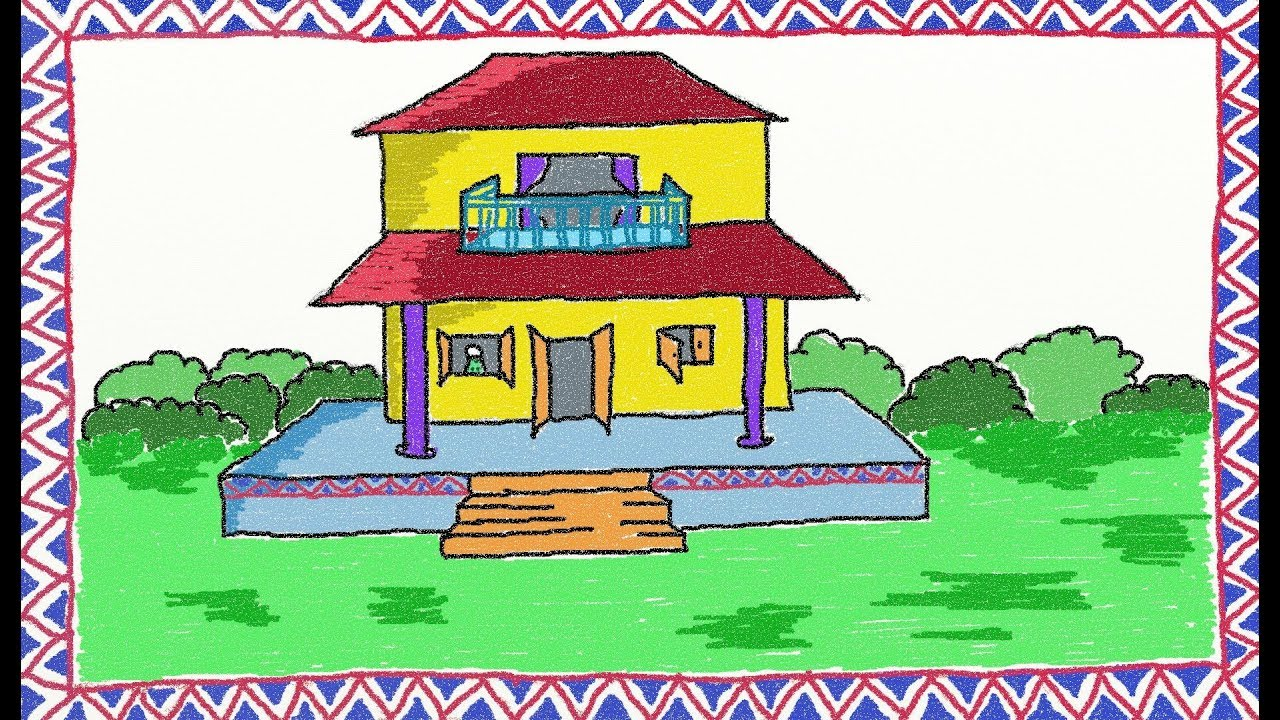 Drawing a simple house | How to draw a house | Drawing for ...